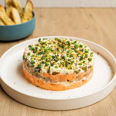 Smoked Salmon 7 Layer Dip with Bagel Chips Recipe   SideChef
