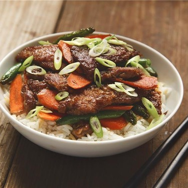 Mongolian Beef with Green Beans and Jasmine Rice Recipe   SideChef