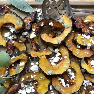 Spicy Roasted Acorn Squash with Feta Crumbles Recipe | SideChef