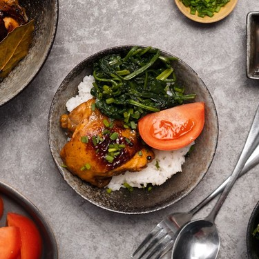 Chicken Adobo with Wilted Spinach and Fresh Tomato Recipe | SideChef