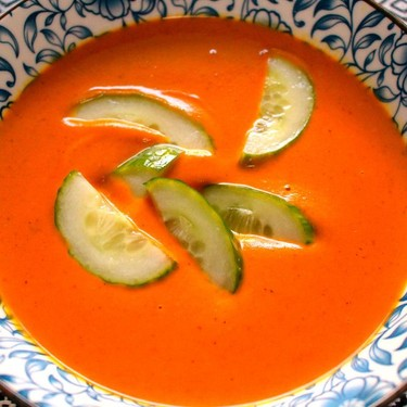 Bombay Carrot Coconut Soup with Salted Cucumbers Recipe | SideChef