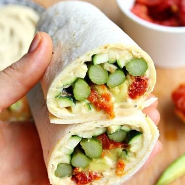 Asparagus Sun-Dried Tomato Hummus Wraps Recipe | SideChef