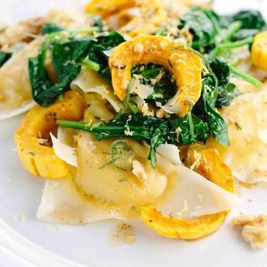 Delicata Squash Ravioli with Butter Sage Sauce Recipe | SideChef
