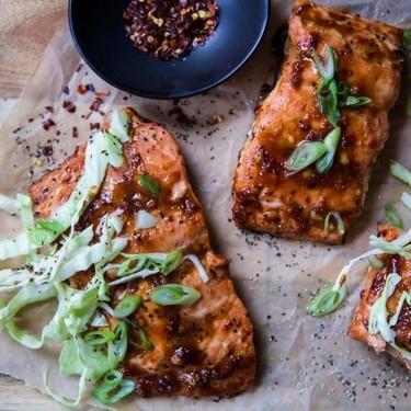 Baked Miso-Hoisin Salmon with Crunchy Slaw Recipe | SideChef