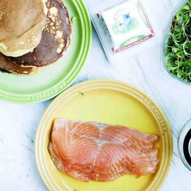Protein Pancakes with Smoked Salmon and Goat Cheese Recipe   SideChef