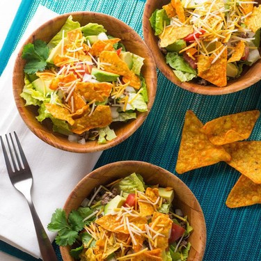 Taco Salad with Nacho Cheese Tortilla Chips Recipe   SideChef