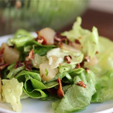 Poached Pear, Bacon, Pecan & Butter Lettuce Salad Recipe   SideChef