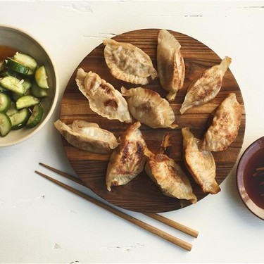 Gingery Pot Stickers with Cooling Cucumber Salad Recipe   SideChef