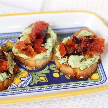 Goat Cheese Pesto and Roasted Tomato Crostini Recipe | SideChef