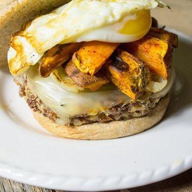 Quinoa Veggie Burger Topped with Sweet Potato and Eggs Recipe   SideChef