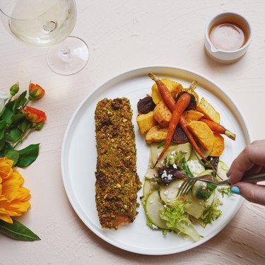 Sheet Pan Pistachio Salmon with Apple Honey Salad Recipe   SideChef