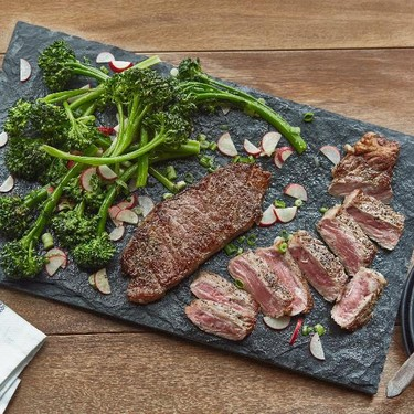 New York Steaks with Broccolini Radish Salad Recipe | SideChef