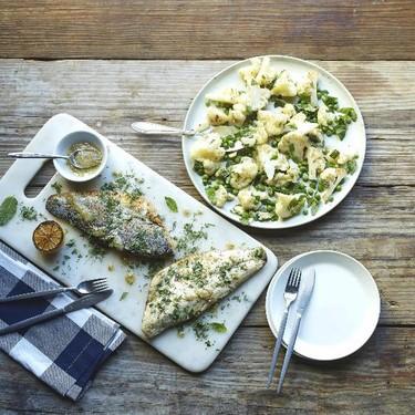 Seared Branzino with Garlic Roasted Cauliflower Recipe   SideChef