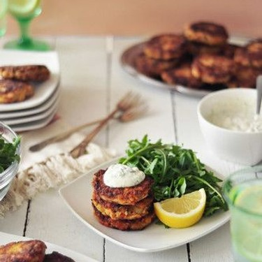 Salmon Cakes with Creamy Dill Sauce Recipe   SideChef