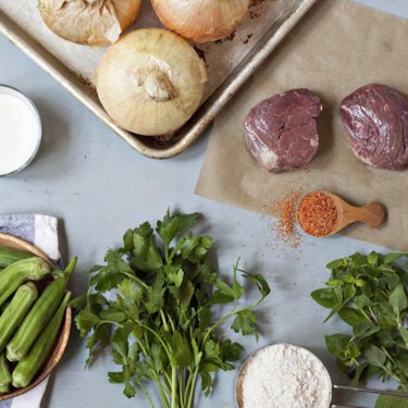 Beef Tenderloin with Herbed Onion Rings and Okra Recipe   SideChef