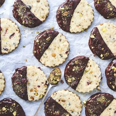 Pistachio Cherry Chocolate-Dipped Cookies Recipe   SideChef