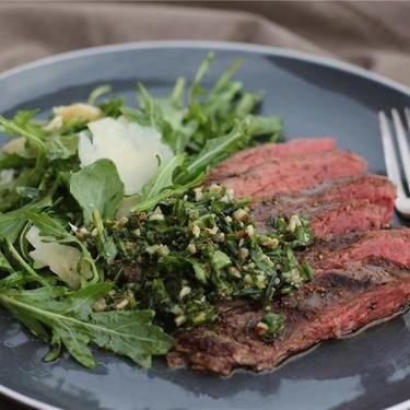 Hanger Steak with Pecan Herb Salsa Recipe | SideChef