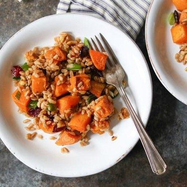 Fall Farro Salad with Butternut Squash, Walnuts and Cranberries Recipe | SideChef
