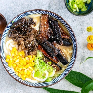 Miso Udon Noodles with Teriyaki Eggplant Recipe | SideChef