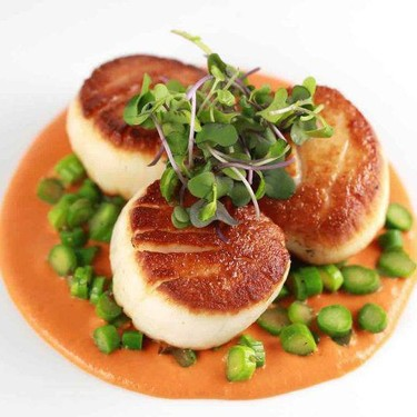 Caramelized Scallops with Curried Roasted Red Pepper Coulis Recipe | SideChef