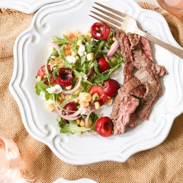 Marinated Steak with Sweet Corn and Cherry Salad Recipe | SideChef