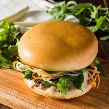 Vietnamese Lemongrass Pork Bahn Mi Burger Recipe   SideChef