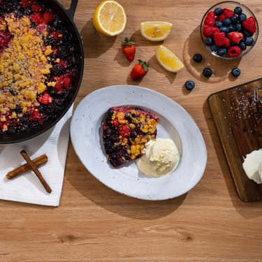 Skillet Mixed Berry Crumble Recipe   SideChef
