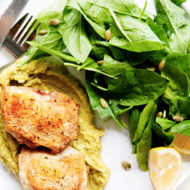 Chicken with Pea Puree and Spinach Recipe | SideChef