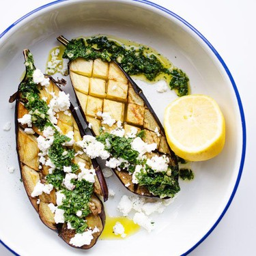 Roasted Eggplant with Mint Sauce and Feta Recipe | SideChef