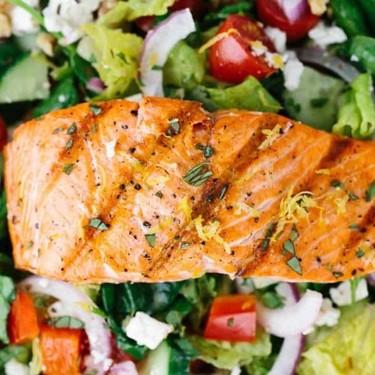 Salmon Greek Salad with Lemon Basil Dressing Recipe   SideChef