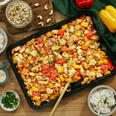 Sheet Pan Sweet Sour Cashew Chicken Recipe   SideChef
