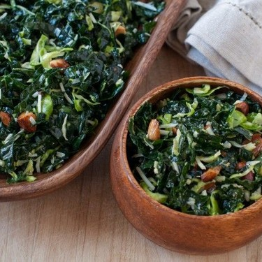 Kale Salad with Brussels Sprouts and Toasted Almonds Recipe   SideChef