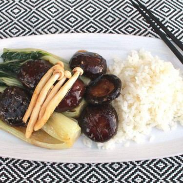 Black Mushrooms, Seafood Mushrooms, and Bok Choy in Oyster Sauce Recipe | SideChef
