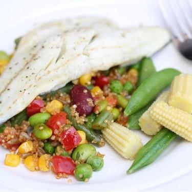 Zesty Bean Quinoa and Poached Sea Bass Recipe | SideChef