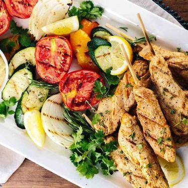 Greek Style Chicken Skewers and Hummus Recipe   SideChef