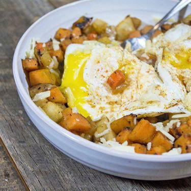 Root Vegetable Hash with Eggs and Aged Cheddar Recipe | SideChef