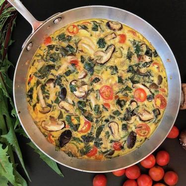 Frittata with Dandelion Greens, Cherry Tomatoes, Mushrooms and Serrano Pepper Recipe | SideChef