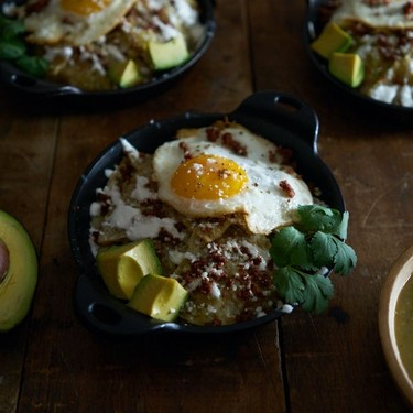 Chilaquiles Verdes with Fried Eggs and Chorizo Recipe | SideChef