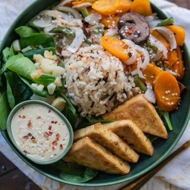One-Pan Tofu Veggie Bowl with Cashew Garlic Sauce Recipe   SideChef