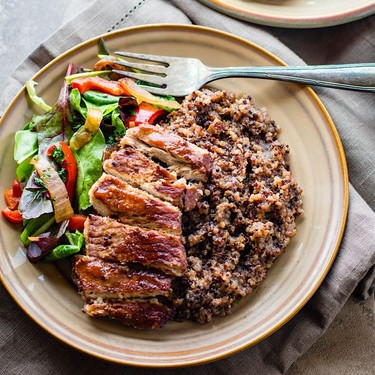 One-Pot BBQ Cherry Pork Chops and Quinoa Recipe   SideChef