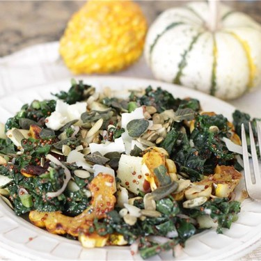 Autumn Kale Salad + Maple Sage Vinaigrette Recipe | SideChef