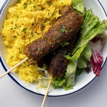Blended Beef Kebabs with Saffron Rice Recipe | SideChef