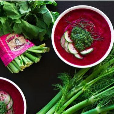 Beet and Fennel Gazpacho with Broccoli Rabe Pesto Recipe   SideChef