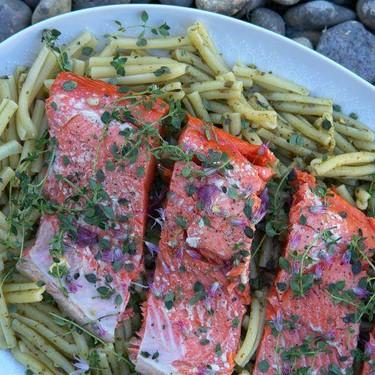 Citrus Thyme Salmon with Pesto Pasta Recipe   SideChef