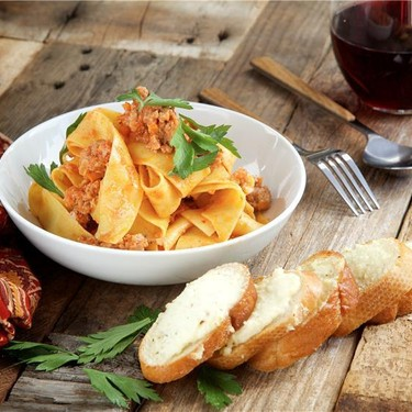 Veal Bolognese with Ricotta Garlic Toasts Recipe | SideChef