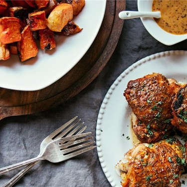 Hot Honey Mustard Chicken + Crispy Sweet Potatoes Recipe | SideChef