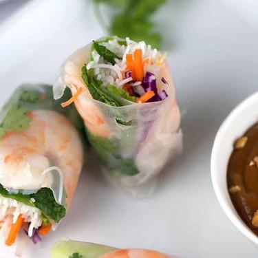 Shrimp Spring Rolls with Peanut Dipping Sauce Recipe | SideChef