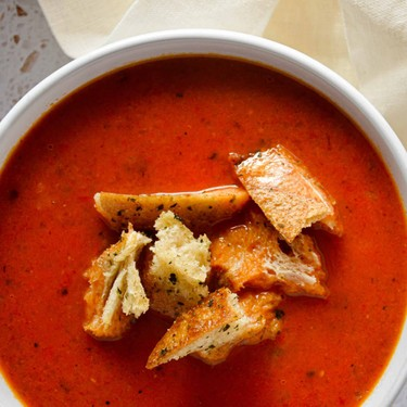 Roasted Red Pepper and Tomato Soup with Sausage & Garlic Bread Croutons Recipe | SideChef