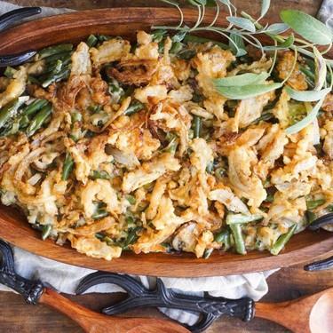 Green Bean Casserole with Tempura Onion Strings Recipe | SideChef
