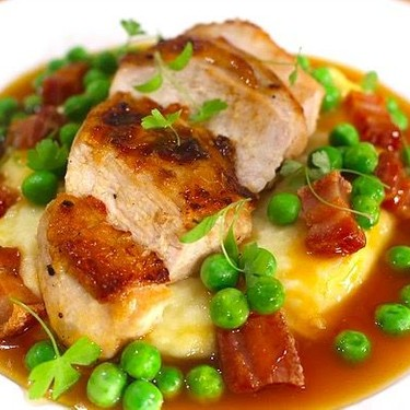 Roasted Chicken with Pommes Mousseline and Pancetta Peas Recipe | SideChef